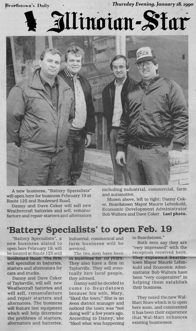 Illinoian Star newspaper article 1990 about grand opening of BSPGC