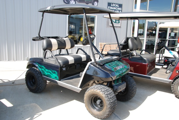 2005 Club Car DS Custom Electric Golf Cart GREEN FLAMES ON BLACK Lifted Suspension for sale $4995