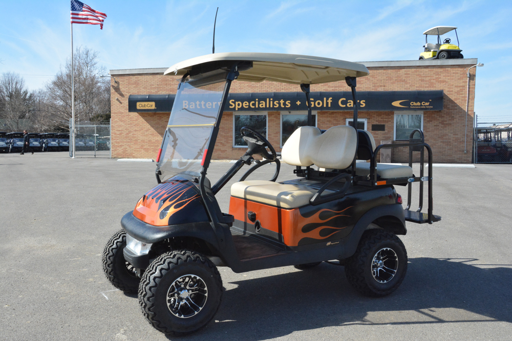 2007 Black with Orange Flames Car Precedent Electric Golf Cart $