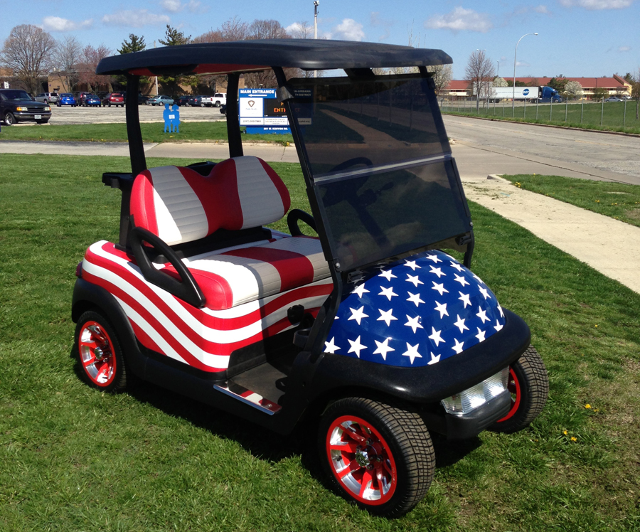 club car precedent golf car stars stripes raffle prize benefiting the illinois state police memorial park honoring the lives of illinios state police
